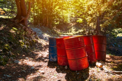 Red and blue toxic waste barrels on a covered path in a forest